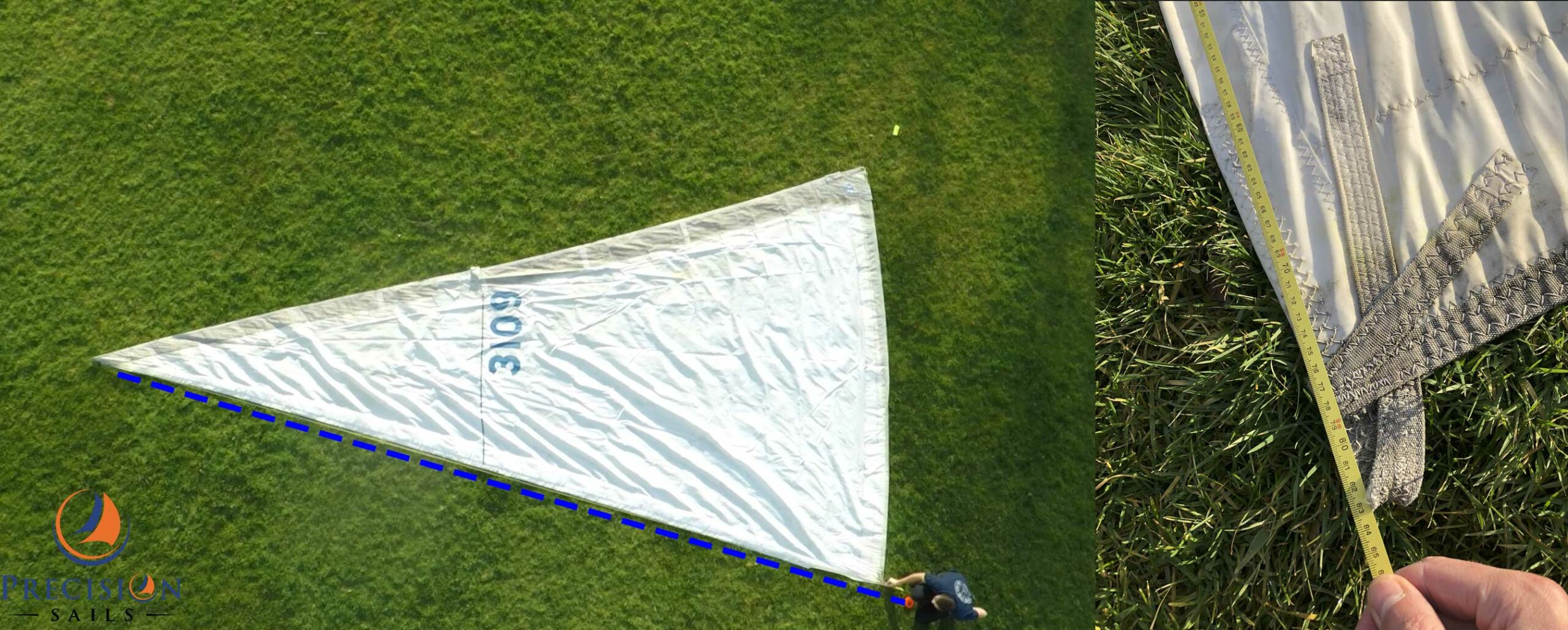 how to measure the maximum length of your headsails luff
