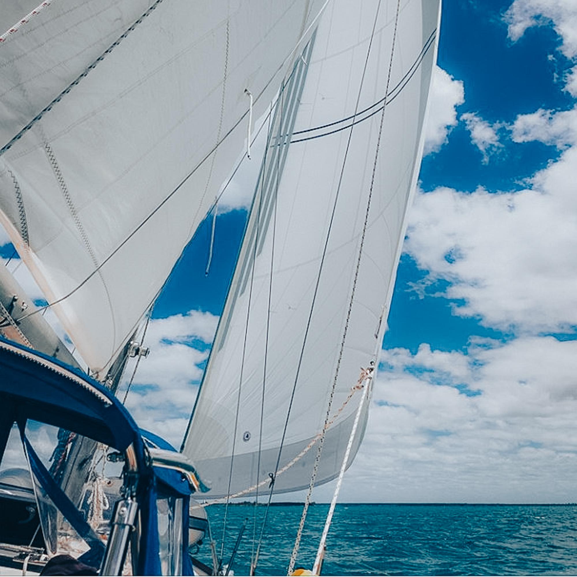 Headsail And Mainsail in the Bahamas